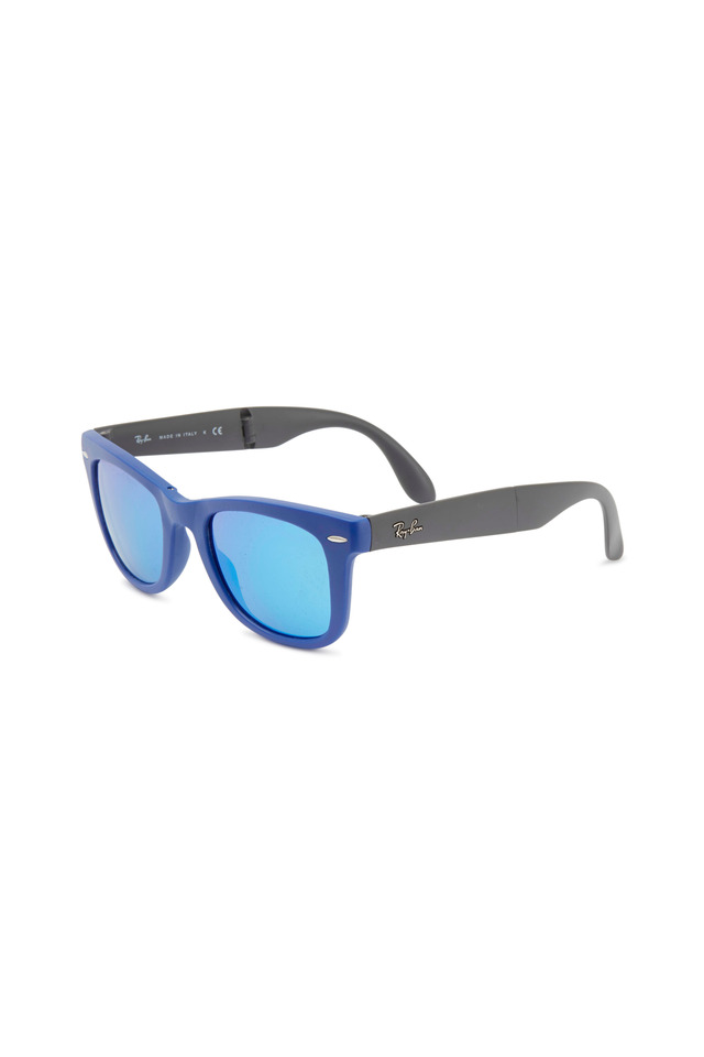 Wayfarer Flash Lenses Blue Folding Sunglasses