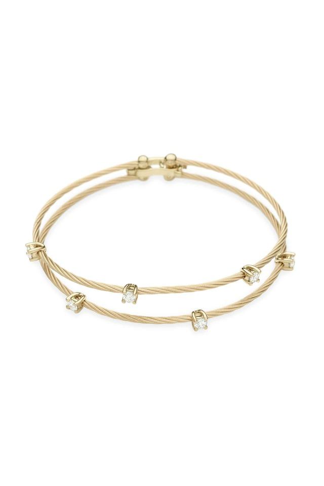 Yellow Gold Double Wire Diamond Bracelet