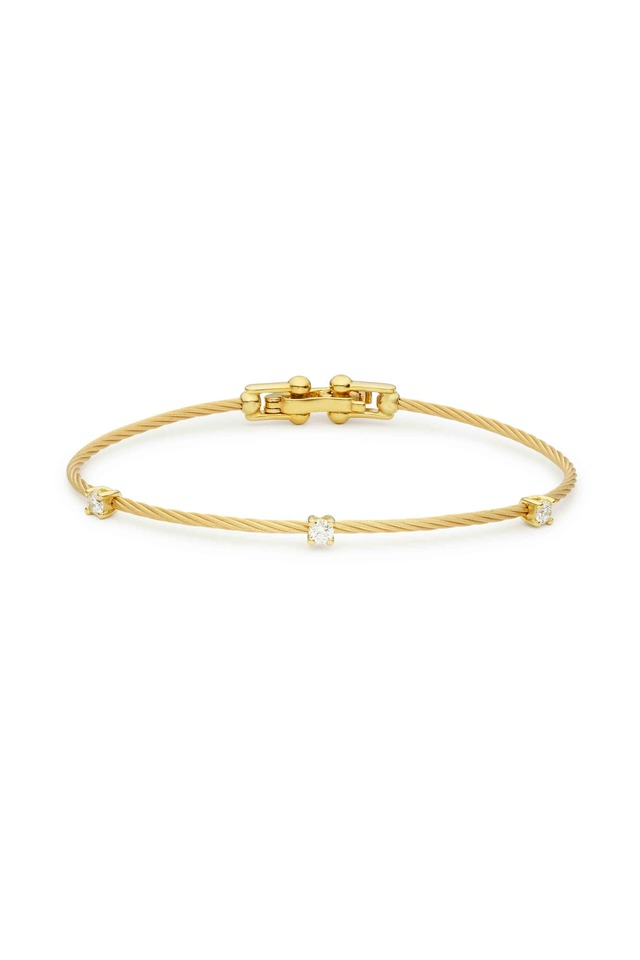 18K Yellow Gold Diamond Wire Bracelet