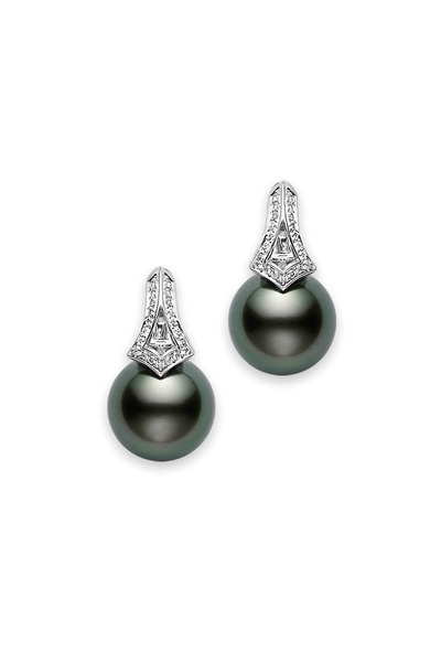 Mikimoto - White Gold South Sea Pearl Diamond Earrings