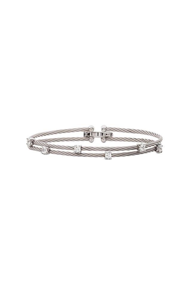 18K White Gold Diamond Double Wire Bracelet