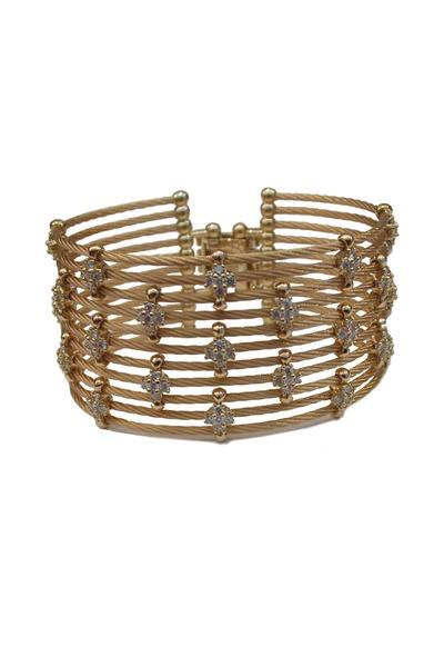 Paul Morelli - Yellow Gold Wire Cuff Diamond Bracelet