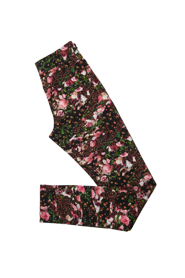 Black & Pink Cotton Rose Leggings