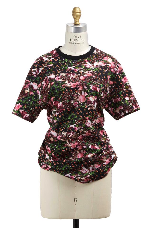 Black & Pink Cotton Rose T-Shirt