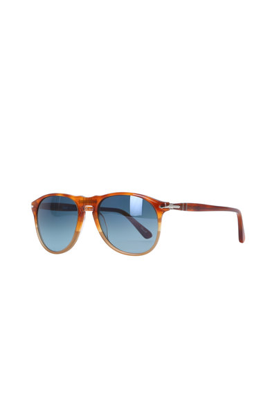 Persol - Brown with Blue Lens Pilot Frame Sunglasses