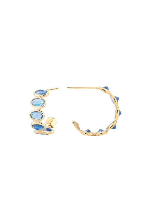 Paolo Costagli Yellow Gold Ombré Sapphire Hoops