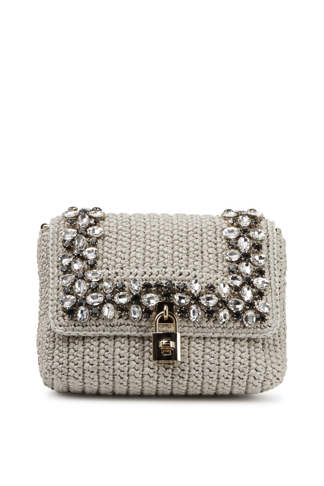 Ms Dolce White Raffia Medium Shoulder Handbag