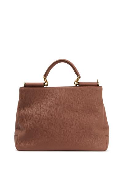 Dolce & Gabbana - Sicily Dusty Rose Soft Leather Medium Hobo Handbag