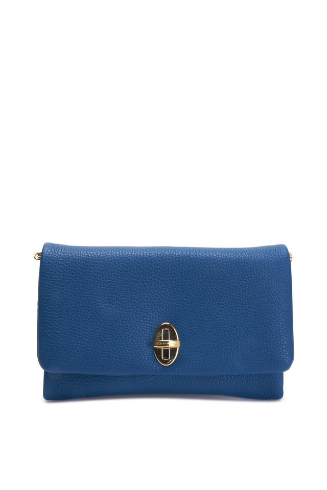 Taormina Royal Blue Leather Large Clutch