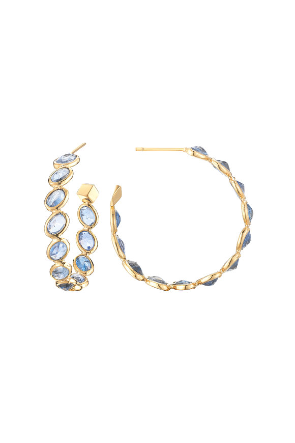 Paolo Costagli 18K Yellow Gold Ombré Sapphire Hoops