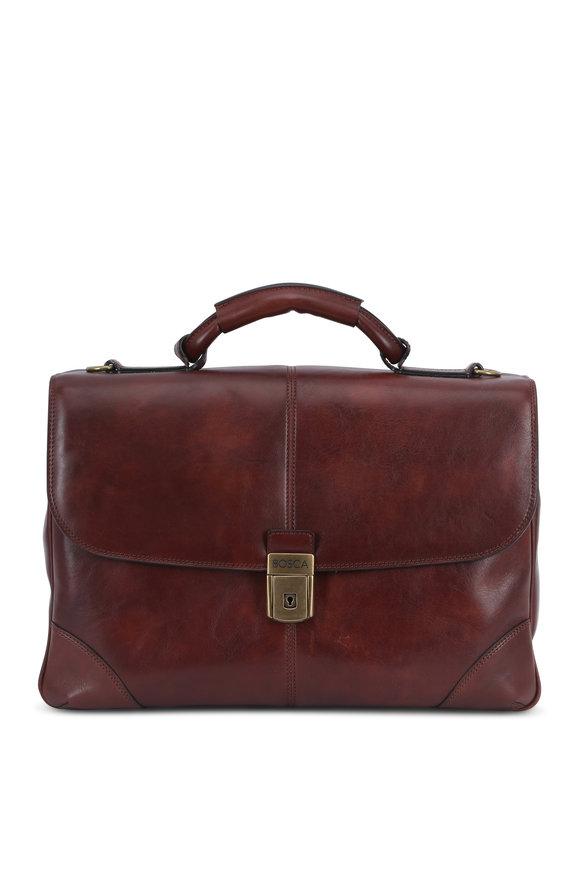 Bosca Dark Brown Leather Flap Front Briefcase