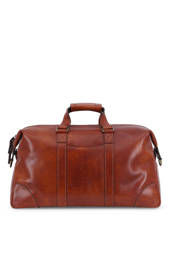 Bosca Hand Stained Amber Leather Duffel bag