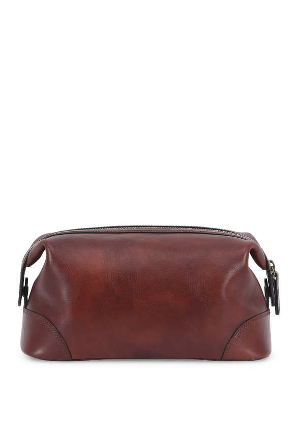 Bosca Dark Brown Leather Dopp Kit