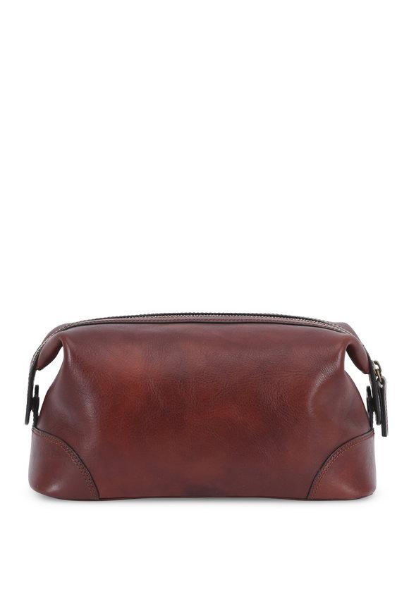 Bosca Dark Brown Leather Dopp Kit