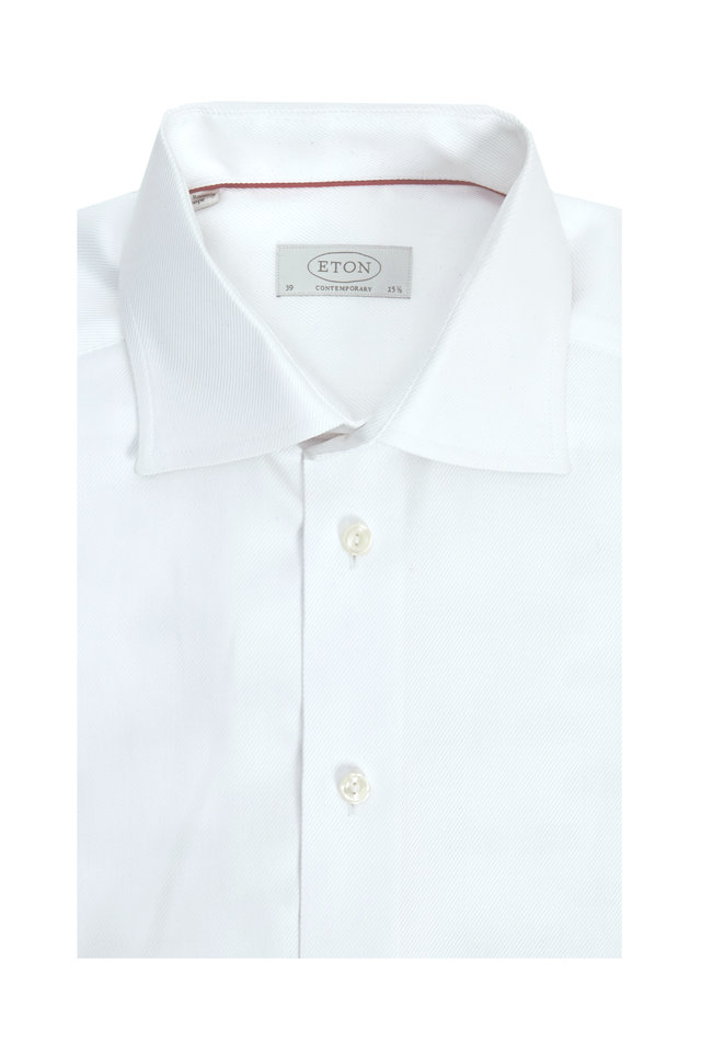 White Twill Contemporary Dress Shirt
