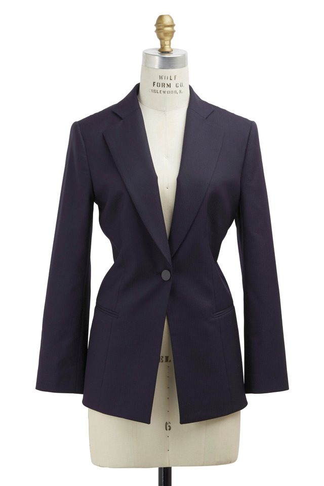 Navy Blue Tonal Stripe Jacket