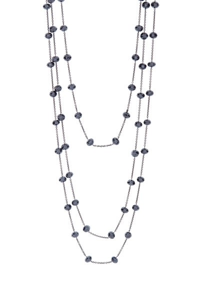 Kwiat - 18K White Gold Black Diamond Bead Necklace