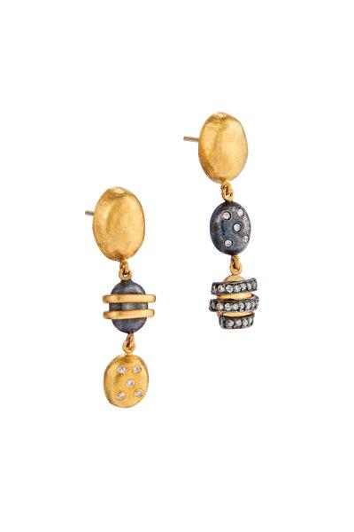 Yossi Harari - 24K Yellow Gold Diamond Drop Earrings