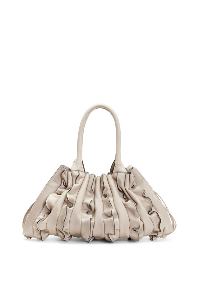 Evolución Taupe Leather Ruffle Shoulder Bag