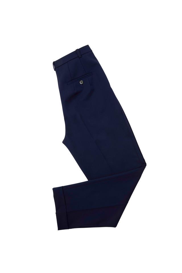 Indigo Slim Pleated Cuffed Pants