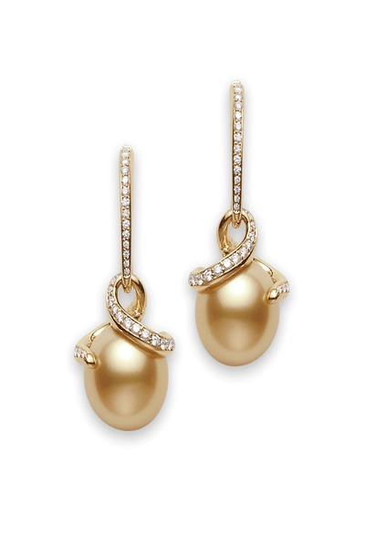 Mikimoto - White Gold Pearl Diamond Dangle Earrings